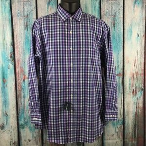 "Club Room Purple Plaid Dress Shirt 17"" 32/33"